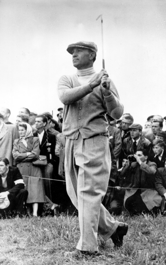 Ben Hogan is shown after chipping from rough grass during the British Open Golf Championship at Carnoustie, Scotland, in 1953.  Hogan won the tournament with a score of 282.  (AP Photo)