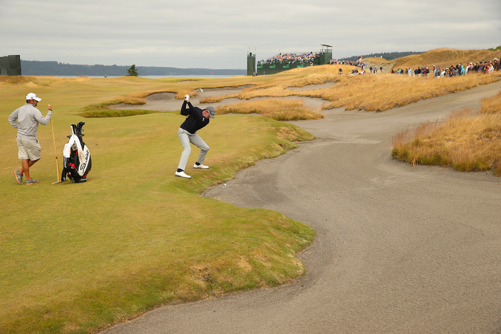 Jimmy Walker plays his second shot on the fifth hole during a practice round for the 2015 U.S. Open at Chambers Bay in University Place, Wash. on Tuesday, June 16, 2015.  (Copyright USGA/Darren Carroll)