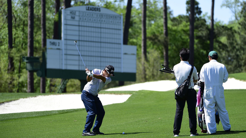Hideki Matsuyama of Japan practices on the course prior to the start of play next week at Augusta National Golf Club on Saturday, April 2, 2016.