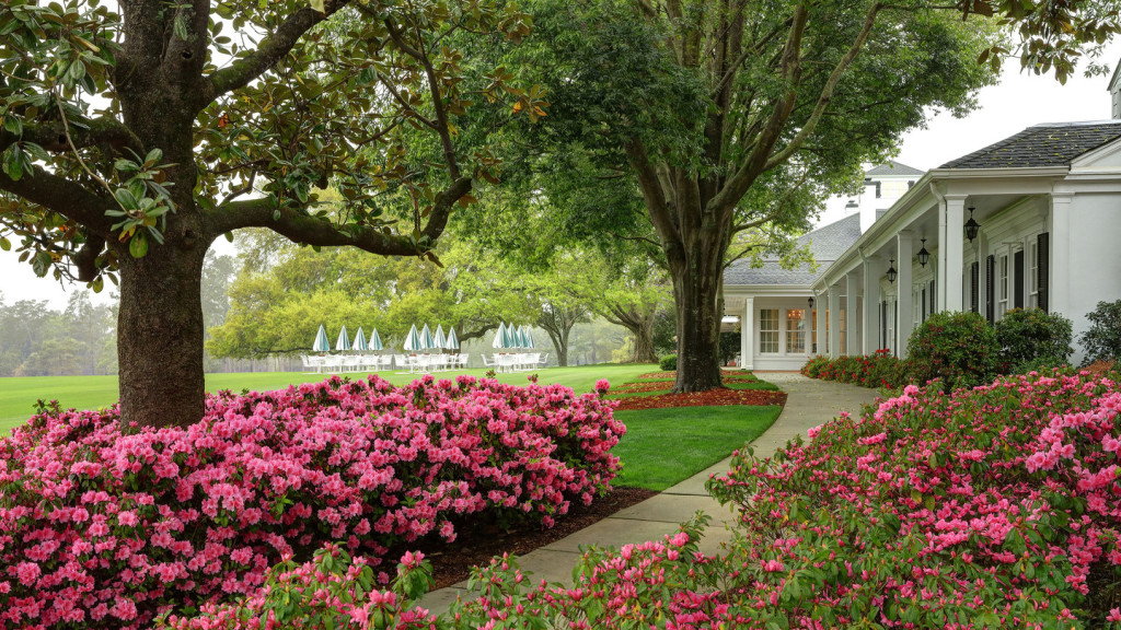 Azaleas line a walkway near the Clubhouse at Augusta National Golf Club 2016.